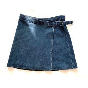 TopShop Moto Denim Wrap Mini Skirt